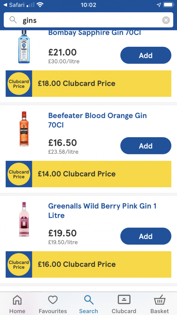 Tesco special offers on gin